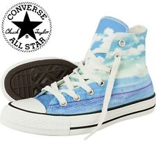 CONVERSE ALL STAR WOMENS WHITE BLUE CASUAL HI TOPS TRAINERS UK 4.5 & UK 5.5