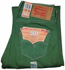 Levi's Mens 501 Jeans Pants Straight Leg Shrink-to-fit Button Fly 501-2407 Green