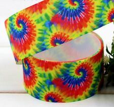 "Groovy Retro Hippie Rainbow Psychedelic 1.5"" Printed Grosgrain Hairbow Ribbon"