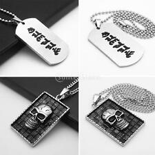 Rectangle Stainless Steel Pendant Necklace Shield Gothic Skull Head Punk Cool