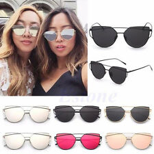 Women Vintage Cat Eye Sunglasses Oversized Eyewear Glasses Shades Metal Frame