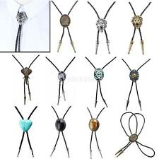 American Western Cowboy Leather Bolo Bola Tie Lion Horse Alloy Pendant 1M