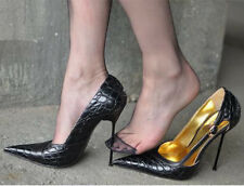 Womens Pointed Toe Real Leather High Heel Pumps Nightclub Shoes Stilettos Size