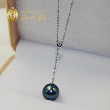 "18"" Stunning AAA++ 11-12mm natural Tahitian black green round pearl necklace 18k"