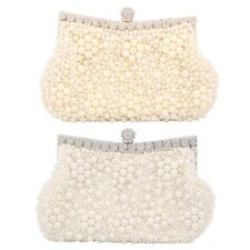 WOMENS BRIDAL PEARL BEADED EVENING BAG WEDDING PROM PURSE CLUTCH BAG HANDBAG