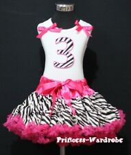 Hot Pink Zebra Pettiskirt Zebra 3rd Birthday Baby Top