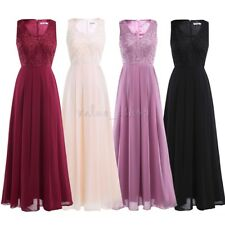 Women Long Chiffon Evening Party Prom Formal Cocktail Wedding Bridesmaid Dress