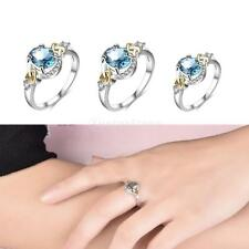 Shiny Blue Zircon CZ Silver Plated Band Rings Fancy Engagement Lady Bridal Rings