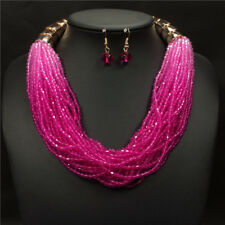 Fashion Gradient Color Resin Necklace Earrings Set New Women Jewelry