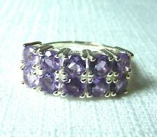 2.20 ct  Amethyst Solid 925 Sterling Silver Cluster Ring