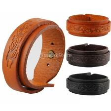 Women Men Gothic Pattern Bracelet Band Wrap Wide Genuine Leather Cuff Wristband