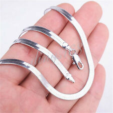 18K White Gold Filled Hypo-Allergenic 4mm wide Flat Snake Chain Necklace H14