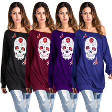 Plus Size L-3XL Womens Gothic Skull Print Blouse Long Sleeve Tunic T Shirt Tops