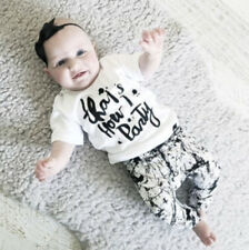 2pcs Baby Clothes Outfits Set Letters Toddler Boys Girls Infant Tops+Pants