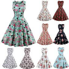 UK Women's Sleeveless Vintage Style 1950s Rockabilly Cocktail Party Swing Dress