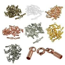 12pcs DIY Jewelry Findings Round Spring Clasps Crimp Cord Thong Ends Connectors