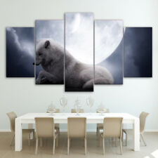 White Wolf Under Moon Painting Modern Poster Prints Canvas Wall Art Home Decor