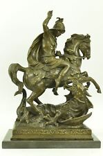"""20"""" Bronze Real St Saint George W Sword On Horse Slaying Devil Religious Statue"""