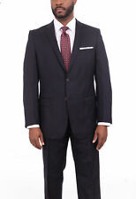 Giorgio Cosani Regular Fit Solid Navy Blue Two Button Wool Cashmere Blend Suit