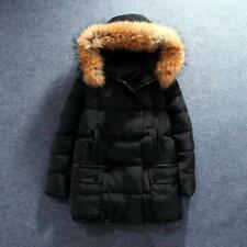 Women's 100% Real Fur Collar Hoodie Coat Winter Zipper Parka Outdoor Down Jacket