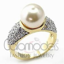 A987 WHITE SIMULATED PEARL 925 SILVER 14K GOLD PLATED, WHITE GOLD PLATED RING