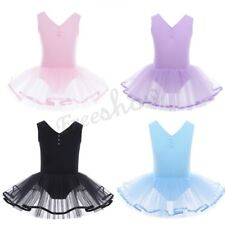 NEW Kids Girls Cotton Tulle Tutu Skirt Ballet Dancewear  Leotard Gymnastic Dress
