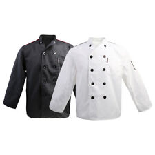 Mens Womens Chef Jacket Catering Uniform Long Sleeve Chef Coat With Pen Pocket