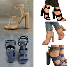 Women Mid Heel Ankle Strap Sandals Open Toe Buckle Chunky Suede Sandals Shoes