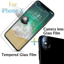 9H Clear Tempered Glass+Back Camera lens Glass Protector Film For Apple iPhone X