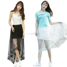 Stylish Women Lace Floral Long Maxi Skirt Sheer See-Through Mesh Casual Dresses