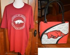 NWT NCAA ARKANSAS RAZORBACKS RUSSELL ATHLETICS T-SHIRT 2XL 3XL + LADIES HANDBAG