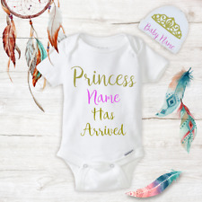 Personalized Name Princess Baby Girl Onesies & Hat Baby Shower Gifts Set Newborn
