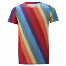 1970s Hippie Disco Retro T-Shirt Men Rainbow Color Party Christmas Top