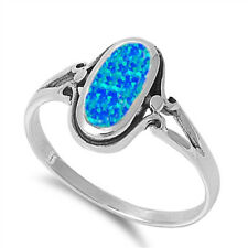 Vintage Boho Style 925 Sterling Silver & Oval Blue Lab Created Opal Ring