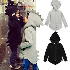 Baby Kids Boys Girl Toddlers Dinosaur Coat Hooded Hoodies Outwear Clothes 1-6Y