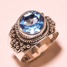LONDON BLUE TOPAZ VINTAGE LOOK 925 STERLING SILVER OVERLAY RING SIZE 7, 8.25