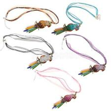 Vivid Parrot Rhinestone Paved Body Colorful Feather Lady Sweater Necklace