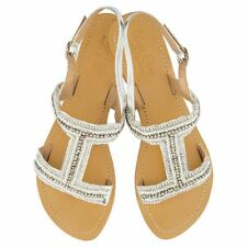 NEW Emily leather sandals in white & silver Women's by Annie Clare