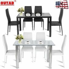5 Piece Dining Table Set Black White Modern Kitchen Room Furniture w/ 4 Chairs A