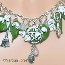 Brigid's Blessing Snowdrop Pagan Necklace - Wicca, Imbolc, Spring Clay Jewellery