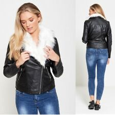 WOMENS LADIES WHITE FAUX FUR COLLAR SHINY PU PVC LEATHER LOOK BIKER JACKET COAT