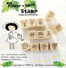 BEST GIFT FOR KID 12pcs DIY Cartoon Cats Flowers Potted Plants Wood Stamps Decor