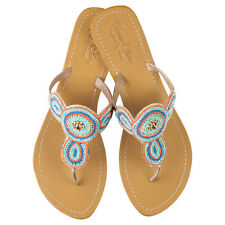 NEW Juliet leather sandals in coral/blue Women's by Annie Clare