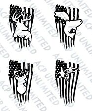 Hunting Fish Deer Ducks Distress Flag Fishing Decal Sticker Merica Outdoorsmen
