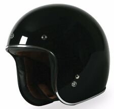 Torc Route 66 T50 Solid Gloss Black 3/4 Open Face Motorcycle Scooter Bike Helmet