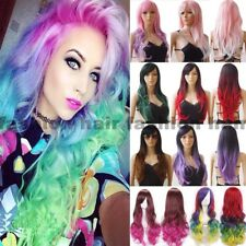 Rainbow Colorful Hair Wig Long Ombre Curly Straight Wig Women Cosplay Costume aa