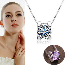 925 Silver Plated Necklace Clavicle Box Chain Jewelry Charm Rhinestone Pendant