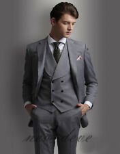 Fashion Gray Tuxedos Wedding Men's Suit 3 Pcs Slim Fit 40r 42r 44r 46r Custom