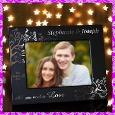 5x7 PERSONALIZED CUSTOM ENGRAVED METAL PICTURE FRAME - Love Birds - Couples
