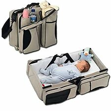 3 in 1 Diaper Bag Portable Crib Changing Station Travel Bassinet Baby Travel Bed